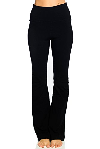 Hard Tail Rolldown Bootleg Flare Pant-Black-L Womens Active Workout Yoga Leggings Black ()