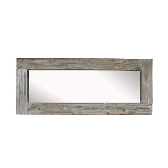 Barnyard Designs Long Decorative Wall Mirror, Rustic Distressed Unfinished Wood Frame, Vertical and Horizontal Hanging… - FULL LENGTH FLOOR OR HANGING WALL MIRROR - The generous size of this long, full length wood framed mirror makes it functional as well as decorative. Perfect to lean against the wall as a body mirror or mounted on the wall. This mirror comes with pre-installed wall mounting hooks. DECORATIVE ACCENT MIRROR - A large statement piece that will open up a room and create the illusion of space, this rustic barn wood leaning or wall mirror will add timeless appeal and style to your home. Perfect addition to an entryway, living room or bedroom. UNFINISHED WOOD DESIGN - Lend a vintage-inspired look to your home decor with this big standing farmhouse mirror. A rectangular unfinished natural-looking wood frame complements the rustic theme - mirrors-bedroom-decor, bedroom-decor, bedroom - 31LjQBag6jL. SS570  -
