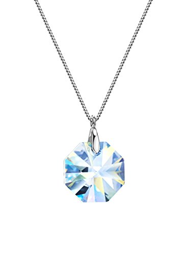 Neoglory 925 Sterling Silver AB Crystal Pendant Necklace Jewelry embellished with Crystals from Swarovski