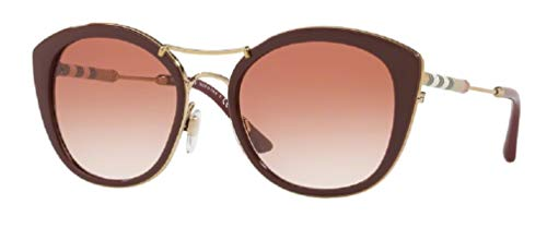 Burberry BE4251Q 340313 53M Bordeaux/Brown Gradient Round Sunglasses For Women+FREE Complimentary Eyewear Care Kit