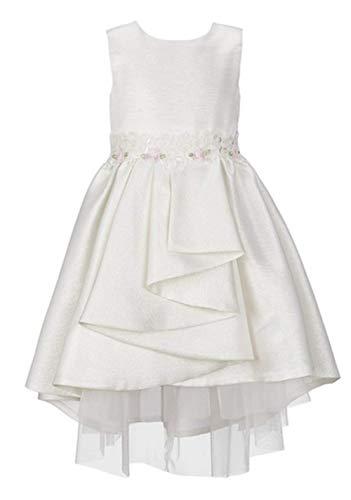 Bonnie Jean Ivory HI-Low Dress with Floral Waist Size 14
