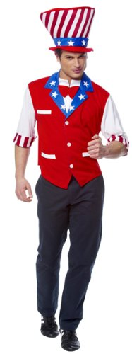 Mens XLG (up to 50)- Uncle Sam Vest and Hat (Hat Tiny)