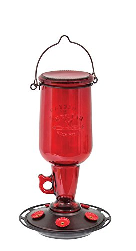 More Birds Hummingbird Feeder, Glass Hummingbird Feeders, 5 Feeding Stations, Red, 23-Ounce Nectar Capacity, Vintage Glass Jug Double Hummingbird Red Feeder