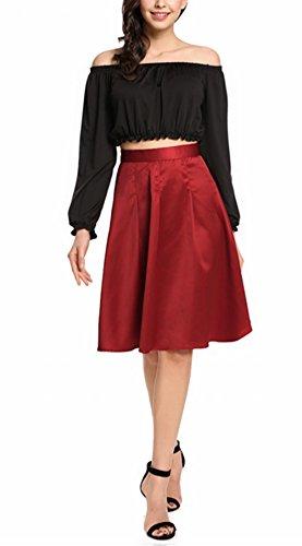 Patineuse Élégante Rétro Vintage Haute Aimado Pli A Longue Couleur Taille Femme Unie Mi line Jupe qAXzxSXa