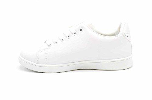 Perforé Oh Sneakers Shop Simili avec My SHY45 Blanc Arrière et Cuir Baskets Fleurs Broderie Bout Tennis BnRqB6x