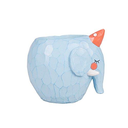 Elephant Pot (Cute Animal Shaped Cartoon Flower Pots Creative Home Decoration Succulent Vase Flower Pots/Cactus Plant Pot/Desktop Flower Pot/Mini Bonsai pot (Elephant))