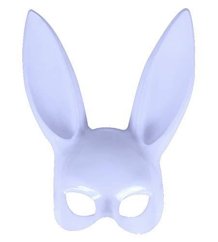 DRAGON SONIC Bunny Ears Half Mask for Makeup Dance/Halloween (White)