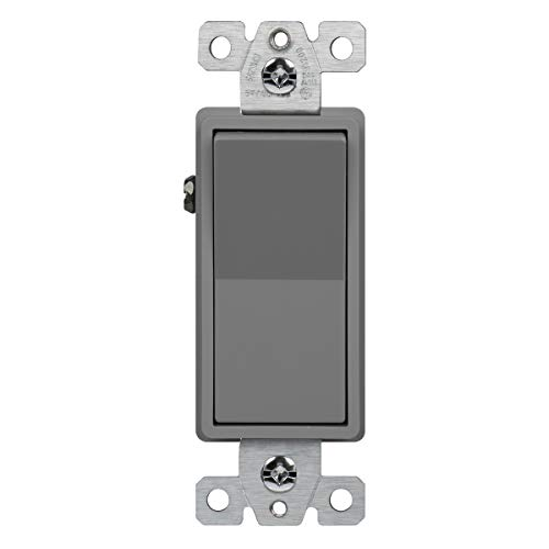 ENERLITES 20 Amp Light Switch, Single Pole Decorator Style, Commercial Grade, 20A 120V-277V, Grounding Screw, Back Insert and Side Terminals, 91200-GY, Gray