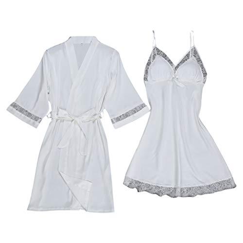 (Women's Pure Color Kimono Robes Short Satin Nightwear Bridesmaids Lingerie S-XXL White )