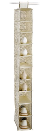 Organize It All 10 Shelf Hanging Closet Shoe (Cube Quadrant Collection)