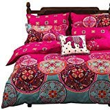Vaulia Lightweight Microfiber Duvet Cover Set, Bohemia Exotic Patterns Design, Bright Pink - Double Size