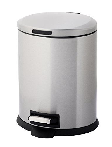 - Home Zone Stainless Steel Kitchen Trash Can with Oval Design and Step Pedal | 5 Liter / 1.32 Gallon Storage with Removable Plastic Trash Bin Liner, Silver