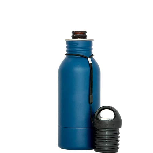 (BottleKeeper - The Stubby 2.0 - The Original Stainless Steel Bottle Holder and Insulator to Keep Your Beer Colder (Blue))