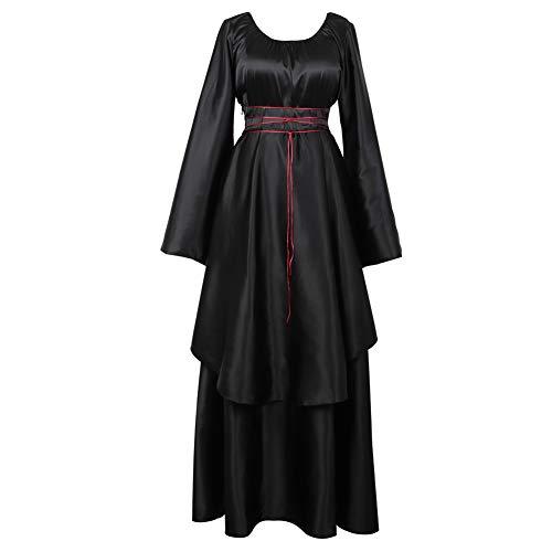 frawirshau Womens Costume Renaissance Irish Medieval Dress Vintage Floor Length Cosplay Costume Retro Long Dress