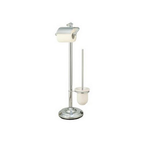 - Kingston Brass CC2011 Pedestal Toilet Paper Holder with Stool Brush Holder, Polished Chrome