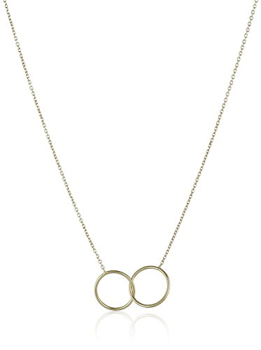 14k Italian Yellow Gold Double Circle Necklace, Adjustable 16'' to 17'' by Amazon Collection