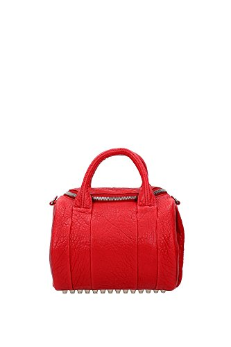 Bowling Bags Alexander Wang Women Leather Red and Silver 20S0112603 Red 18x19x25 cm