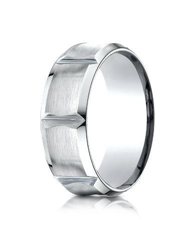 18k White Gold 8mm Comfort-Fit Satin-Finished Beveled Edge Concave with Horizontal Cuts Carved Design Wedding Band Ring for Men & Women Size 4 to (Carved Concave Design)