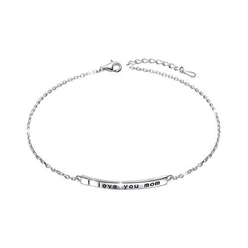 (I Love You Mom Anklet for Mother S925 Sterling Silver Adjustable Ankle Foot Bracelet Mother Day Mama Jewelry Birthday Gift)