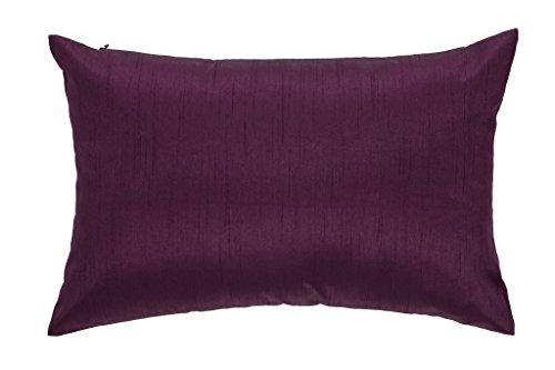 DreamHome 12 X 18 Inches Faux Silk Decorative Lumbar Pillow Cover/Sham (Plum) (Purple Lumbar Pillow)
