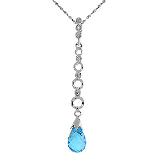 10k White Gold Graduated Circle Cut Outs & Blue Topaz Pendant, w/ 0.05 Carat Brilliant Cut Diamonds, 1 11/16 in. (43mm) tall, w/ 18