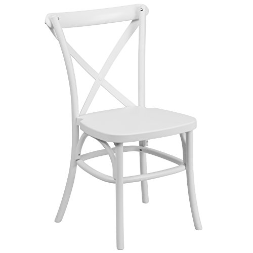 HERCULES Series White Resin Indoor-Outdoor Cross Back Chair with Steel Inner Leg (Outdoor White Dining Chairs compare prices)