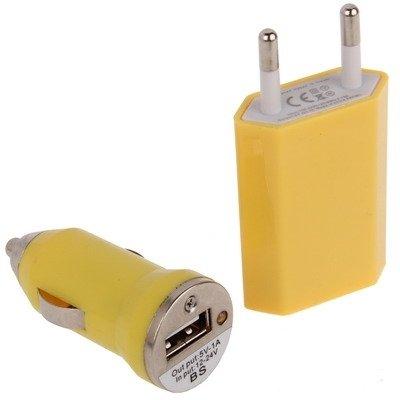 Mxnet 3 en 1 (enchufe de la UE enchufe casero, cargador del coche, cable micro del USB) Kit del recorrido para la galaxia i9500 de Samsung / i9300 / i9100 / i8190 / N7100 / N7000, HTC uno / X920e, Nok Yellow