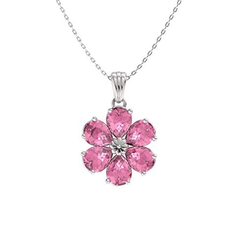 Diamondere Natural and Certified Pear Cut Pink Tourmaline Flower Necklace in 14k White Gold | 0.90 Carat Pendant with Chain