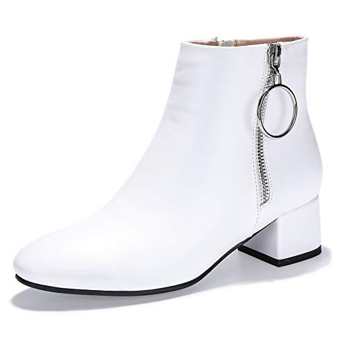IDIFU Women's Ring Zipper Ankle Boots 1.8 Inch Low Block Heels Round Toe Dress Jeans Booties (White Pu, 11 M US) from IDIFU