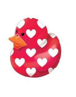 Valentine Red with White Hearts Rubber Duck-1 piece