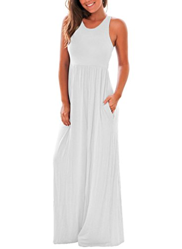 Long White Summer Dress - Lovezesent Women's Sleeveless Long Maxi Floor Length Casual Tank Dresses Small White