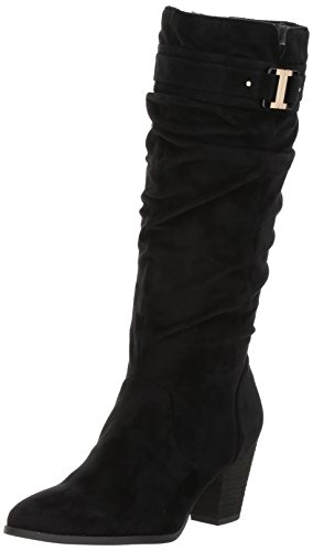 Dr. Scholl's Shoes Women's Devote Riding Boot, Black Microfiber Suede, 8 M US