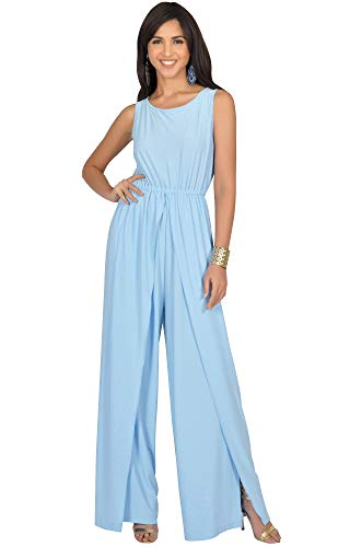 KOH KOH Womens Sleeveless Cocktail Wide Leg One Piece Jumpsuit Romper Playsuit