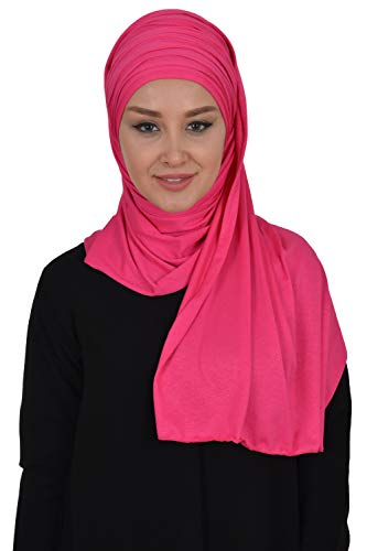 Jersey Shawl for Women Cotton Modesty Turban Wrap Instant Scarf Fuchsia