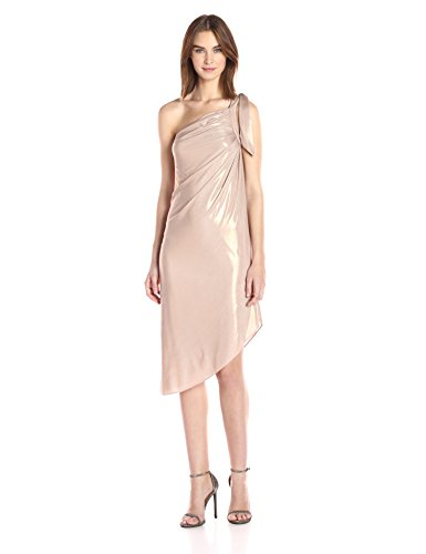 Halston Heritage Women's One Shoulder Draped Metallic Jersey Dress, Primrose, XS