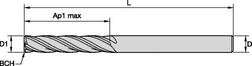 4-Flute 12 mm Cutting Diameter Carbide Weldon Shank RH Cut WIDIA Hanita 40141200W045S VariMill 4014 GP Roughing//Finishing End Mill TiAlN Coating