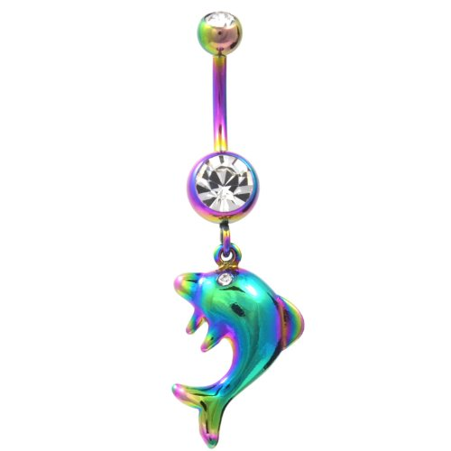 Dangling Dolphin Rainbow Titanium Plated Belly Button Ring Navel Piercing Bar Dangling Dolphins Belly Button Ring