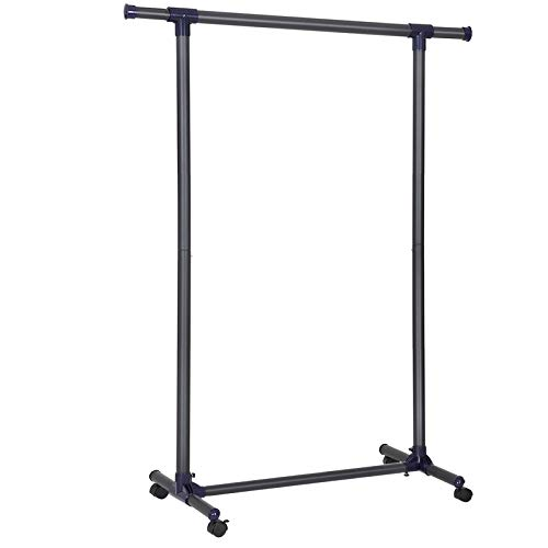 SONGMICS Clothes Rack, Rolling Garment Rack on Wheels, Thickened Hanging Rail, Extendable, 132lb Load,(34.3