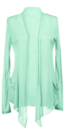 ACTIVE BASIC Long Sleeves with Pocket Shawl Collar Open Drape Cardigan S Mint