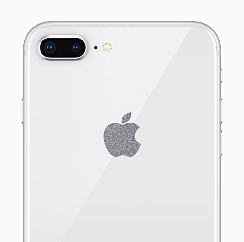 Logo Silver Series - Glitter Silver Apple Logo Decal Sticker for iPhone 8 Plus, iPhone X, iPhone 7 Plus, iPhone 6 Plus