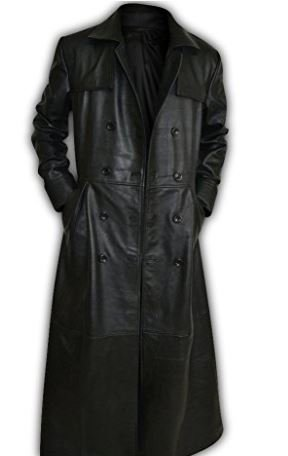 GENUINE LEATHER DOUBLE BREASTED GOTHIC TRENCH COAT (XXX Large) Genuine Trench Coat