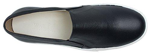 SoYou AnnaKastle Womens Genuine Leather Platform Slip-On Sneakers Black JQ36D