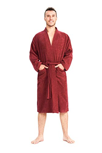 SIORO Men's Cotton Robe with Pockets Long Kimono Collar Bathrobe Casual Style Boxing Robe Winter Soft Plus Size Sleepwear Warm Absorbent Loungewear Gown Solid Burgundy XL by SIORO