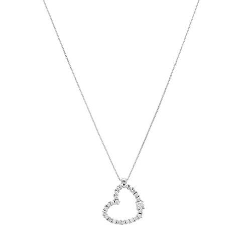 UNICORNJ Adult Tweens Teens 14k White Gold Cubic Zirconia Sideways Heart Pendant Necklace 16.5'' by Unicornj