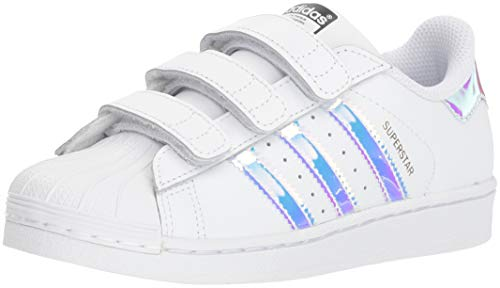 adidas Originals Superstar CF C Shoe (Little Kid),White/White/Metallic Silver,3 M US Little Kid ()