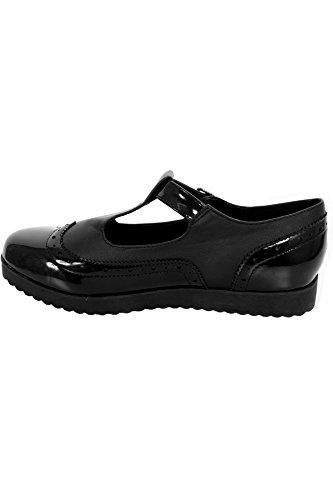 Sapphire Tienda de Mujer Contraste Charol Muñeca Hebilla altura Tira Plano Trabajo Escuela Zapatos Oxford Black Patent / Faux Leather