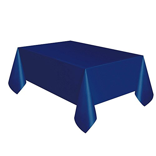 Creative Converting Touch of Color Plastic Table Cover, 54 by 108-Inch, Navy