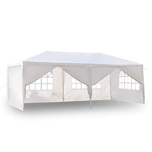 (VINGLI 10' x 20' Outdoor Canopy Tent w/ 6 Removable Sidewalls,Party Wedding Event Pavilion Catering Gazebo Patio Pool,Thicken Tube Upgrade Steady,Free Stake and Guy Ropes)
