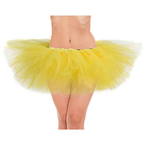 belababy Yellow Women Tutu Classic 5 Layers Tulle Skirt, One Size -