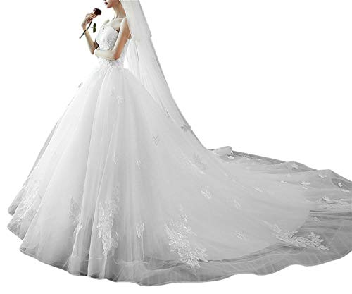 LeoGirl Women's Strapless A-Line Lace Appliques Chapel Wedding Dress Bridal Gown White 12 A-line Strapless Chapel Train